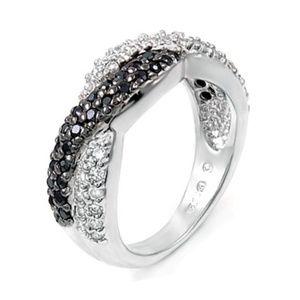 Size 6 Black & White CZ Wave Fashion Ring Silver